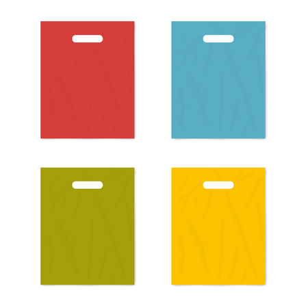 Colorful merchandise plastic bag with die cut handles isolated on white background, realistic vector mockup set. Template for design Çizim