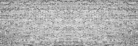 Wide gray shabby brick wall texture. Old masonry panorama. Brickwork panoramic retro grunge background