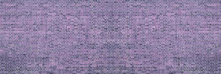 Wide purple shabby brick wall texture. Violet masonry panorama. Brickwork panoramic retro background Фото со стока