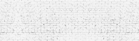 Whitewashed old brick wall wide background. White washed brickwork panoramic backdrop