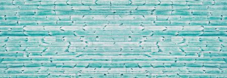 Teal color knotty rough wood wide texture. Horizontal wooden board panorama. Panoramic vintage background