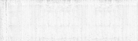 Old white washed concrete wall wide texture. Rough light gray cement surface panorama. Whitewashed panoramic background