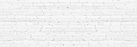 White knotty wooden plank wide texture. Whitewashed horizontal wood board panorama. Long panoramic rustic vintage background