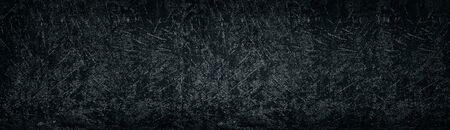 Dark shabby textured concrete slab long backdrop. Gloomy grungy background