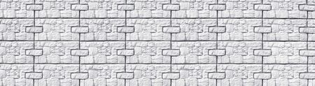 White exterior wall wide texture. Whitewashed block pattern long background
