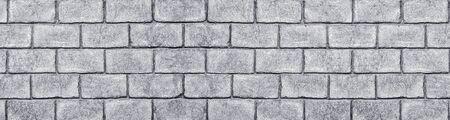 Shabby gray concrete brick block wall wide texture. Large grungy background Фото со стока - 132025055