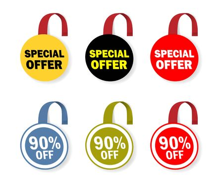 Round sale wobbler. Circle dangler for special offer design. Promo label tag color vector set Фото со стока - 132024380