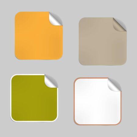 Set of square blank empty stickers with peeled off corner, mock-up. Aluminum foil lids, adhesive labels. Vector template