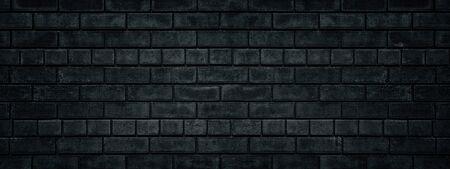 Black brick wall wide texture. Gloomy grunge panoramic dark background