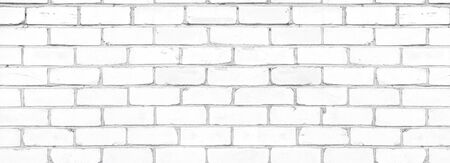 Old shabby white exterior brick wall texture. Cement block whitewashed widescreen background Фото со стока - 132769213