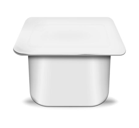 White blank plastic yogurt pot with peel off foil lid, realistic mockup. Yoghurt square cup, vector template