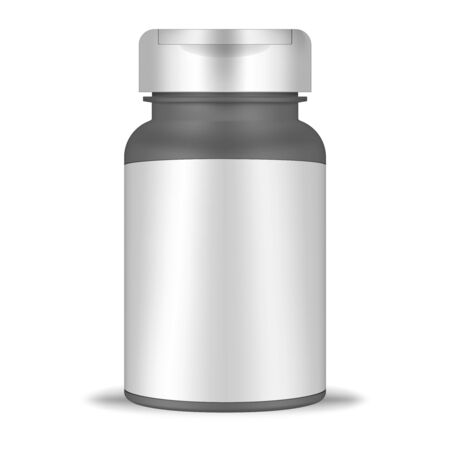 Cylinder plastic bottle with blank label and screw flip top cap, realistic mockup. Round container isolated on white background, vector template. Medical pill pack, mock-up