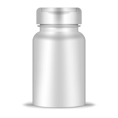 Round container with flip top cap, realistic mockup. White blank plastic bottle, vector template. Medical pill, dietary supplement, vitamin package mock-up Иллюстрация