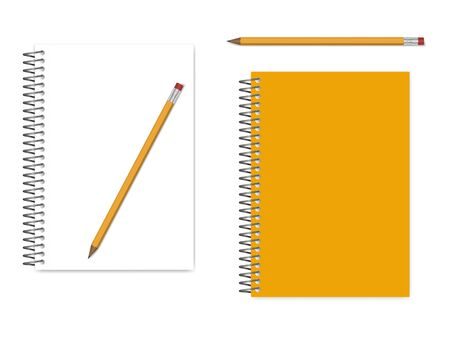 Spiral A5 notebook empty page and cover with graphite pencil, realistic vector mockup