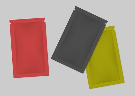 Blank color sachet packet set, realistic vector illustration. Small pouch pack top view, template for design