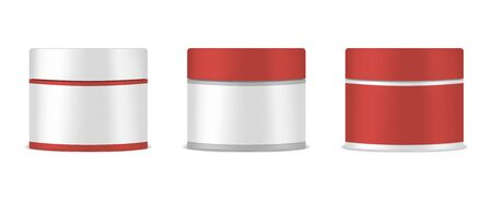 Round jar with screw cap and blank label, vector mockup set. Cosmetic or medical product package, mock-up
