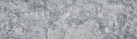 Broken gray concrete wide texture. Old weathered cement large panoramic grunge background