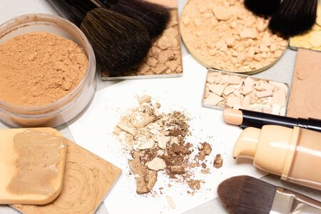 Makeup products to perfect skin tone. Make-up primer, concealer stick, foundation, different functional types of face powder Stock fotó