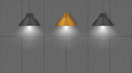 Three hanging pendant lamps near the wall. Elegant vintage interior lights. Black and gold bronze colors. Realistic vector illustration
