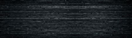 Black wood wide texture. Bamboo planks. Dark long background Stock Photo