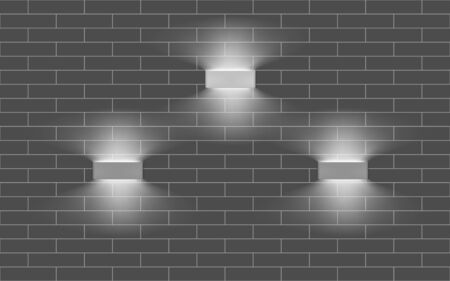 Three lamps with indirect light on the wall. Modern interior lights. Realistic vector illustration Illustration