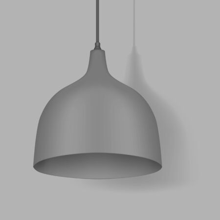 Hanging pendant lamp. Modern interior light. Chandelier with gray metal lampshade. Vector mockup Banque d'images - 148520811