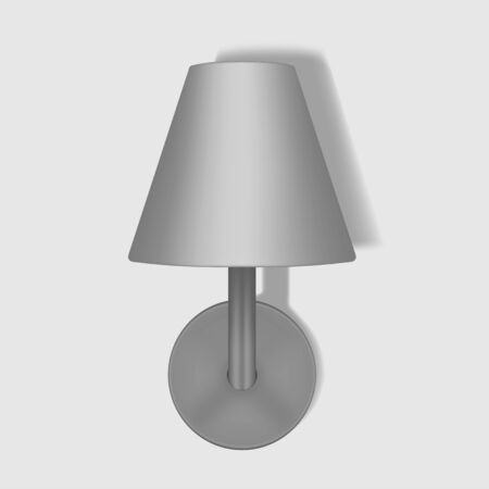 Wall lamp with lampshade, vector mockup. Modern interior night light, template for design
