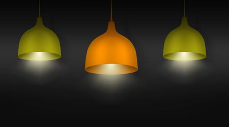 Hanging pendant lamps with the light on. Chandeliers with color lampshades. Realistic vector illustration Banque d'images - 147980171