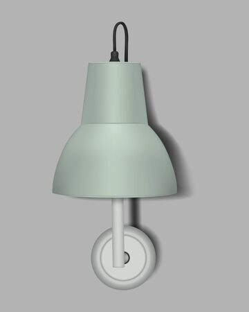 Wall lamp with mint colored lampshade, realistic vector illustration. Modern interior night light