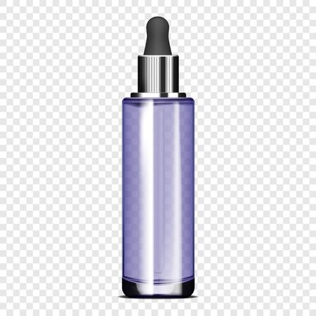 Clear glass bottle with dropper cap on transparent background, realistic vector mockup. Cosmetic serum packaging, template for design
