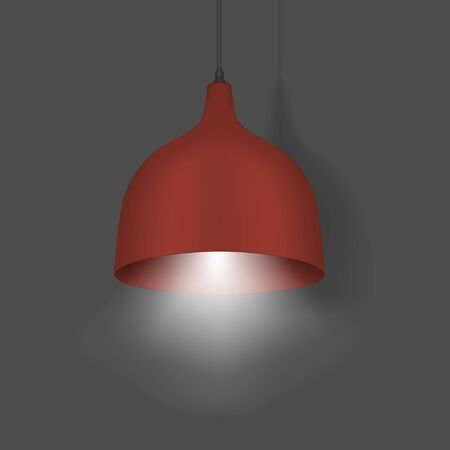 Hanging pendant lamp. Modern interior light. Chandelier with red lampshade. Realistic vector illustration