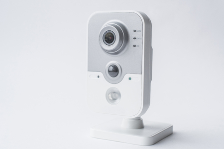 CCTV camera isolated on white background, with clipping paths