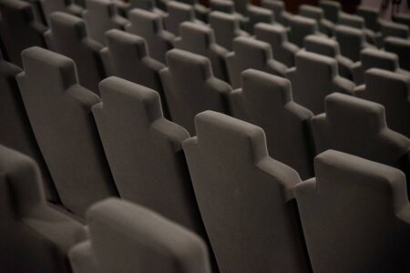 Cinema hall with beige armchairs Stock Photo