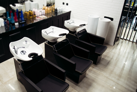 Interior view of luxury beauty and barbershop salon