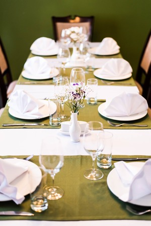 Tables set for an event, catering table set, perfect serves