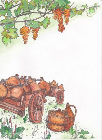 pitcher's: Landscape winemaker. The two illustrated angle for the page design. Ripe grapes and carts laden with pitchers. Stock Photo