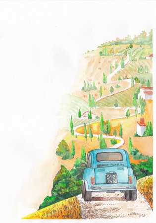 Vintage car rides on a winding road. Corner illustration for design. Stock Photo