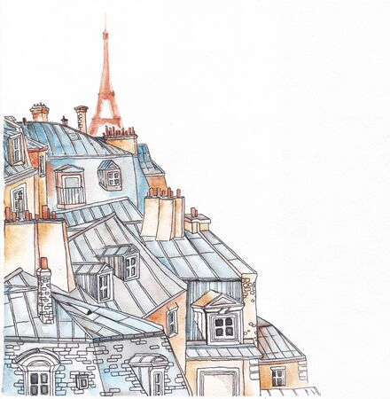 Paris rooftops on a white background. The angular design.