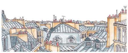 roof: Roofs of Paris in watercolor. The horizon for design. Stock Photo