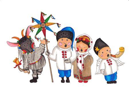 carols: Kolyada stylized drawing of children on a white background Stock Photo