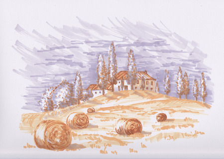Sketch of Tuscany in autumn.