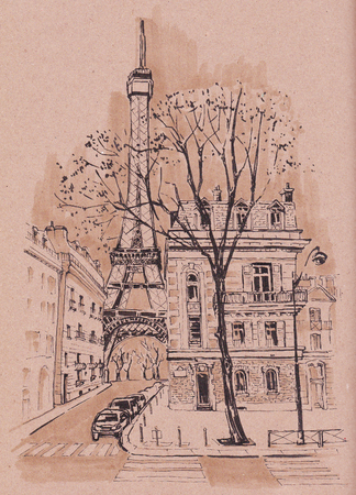 The streets of Paris. A sketch on kraft paper. Banco de Imagens
