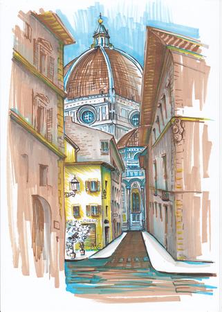 フィレンツェの街。スケッチ。