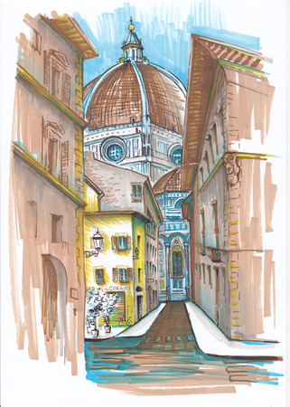 The streets of Florence. Sketch. 版權商用圖片