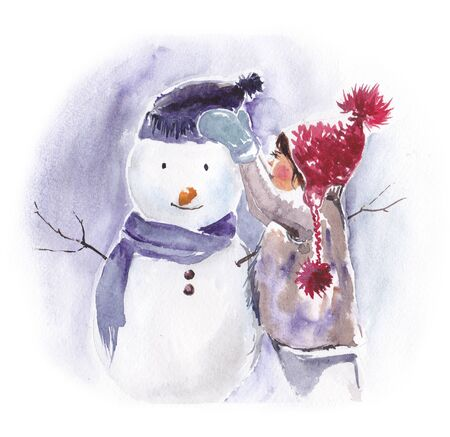 The girl is making a snowman. Watercolor.