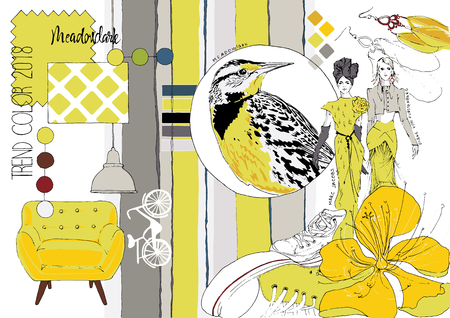Fashionable color Meadowlark. Drawn sketch.