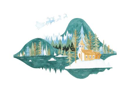 Stylized winter landscape with mountains and pines.
