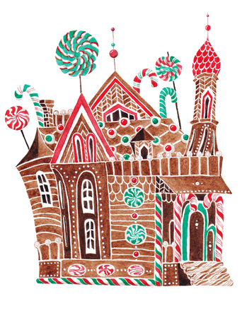 Gingerbread house painted in watercolor on a white background