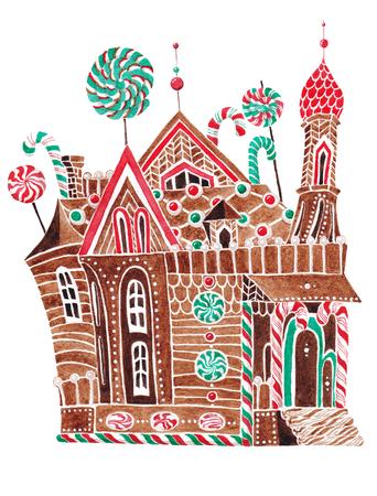 Maison d & # 39 ; ananas peinte dans l & # 39 ; aquarelle sur un fond Banque d'images - 93470640