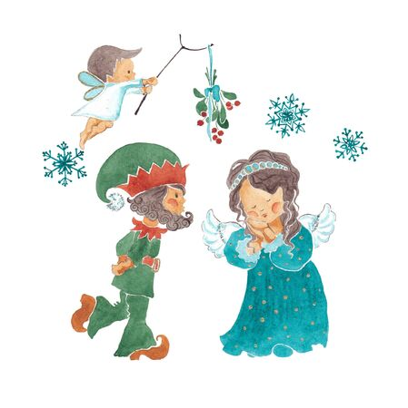 A dwarf and a fairy under the mistletoe. An illustration of a watercolor.